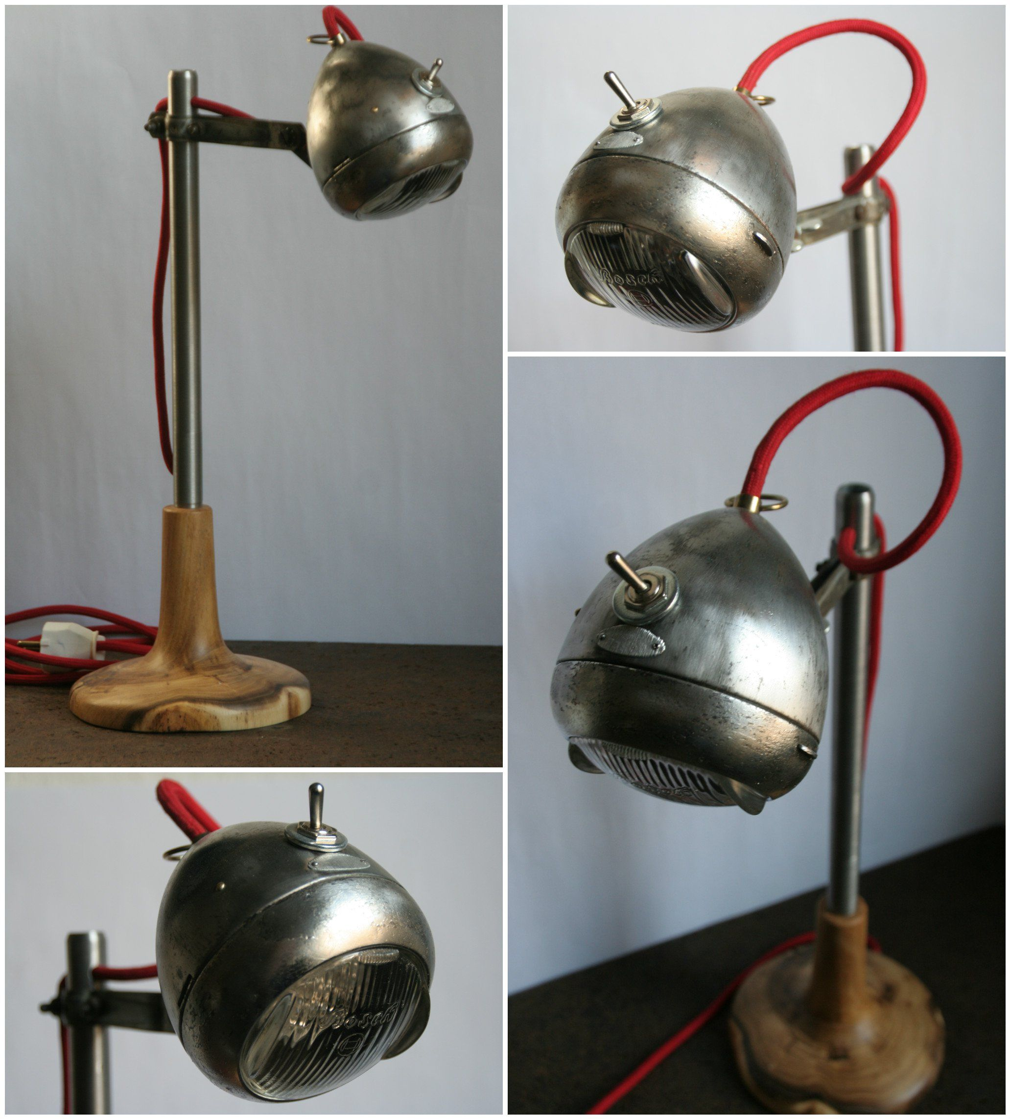 Upcycled Lamps And Lighting Ideas: #BicycleLamp, #Bike, #DeskLamp, #Industrial, #Lamp, #Led