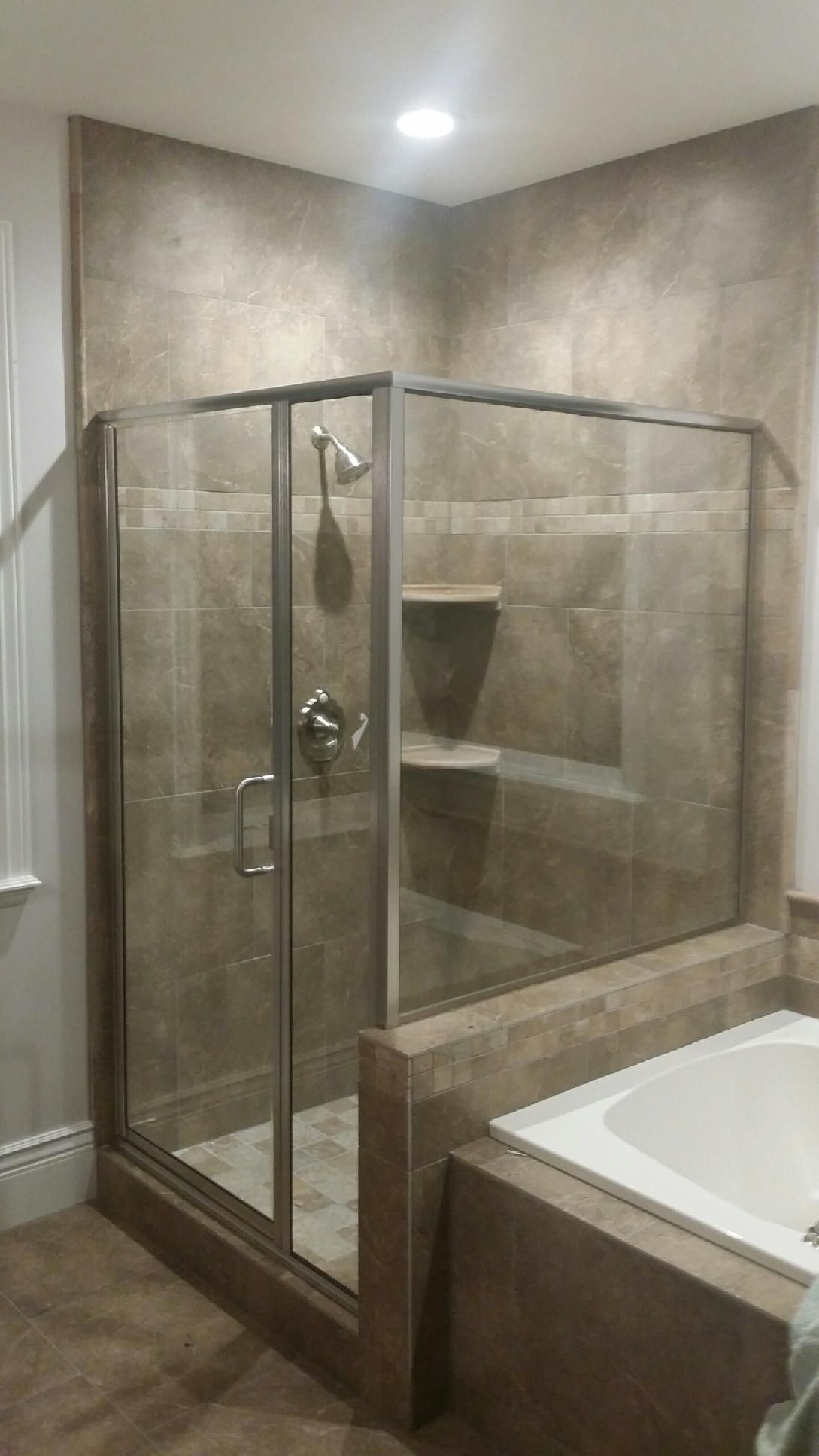 1 4 Glass Enclosure With Inline And 90 Panel Shower Model Cdmp I 90 Picture Provided By Arizona Shower Doo Shower Doors Glass Enclosure Shower Enclosure