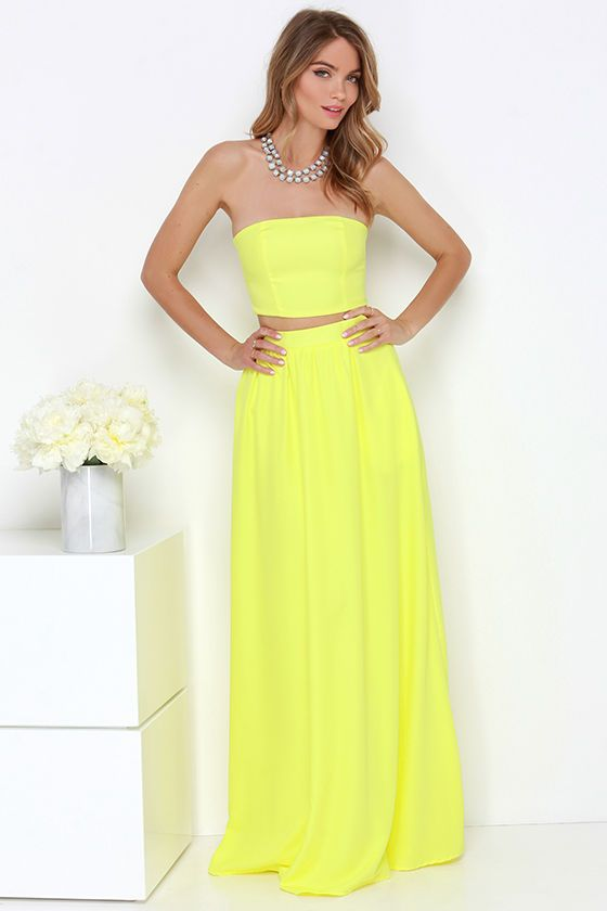 Maxed Out Yellow Two-Piece Maxi Dress | Wardrobe
