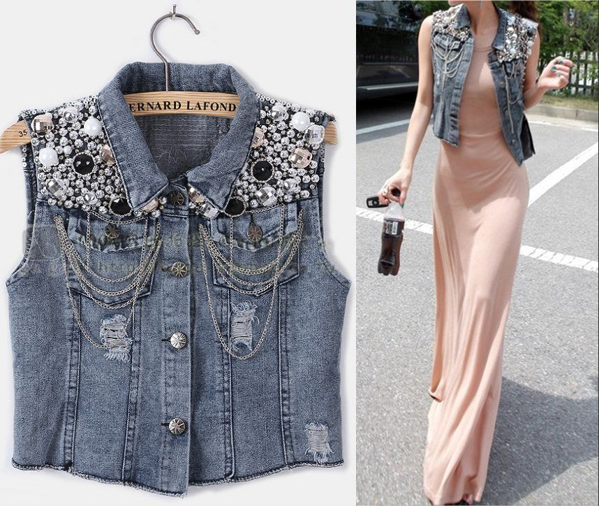 Punk Style Vintage Blingbling Denim Jean Vest Jacket | Denim vests ...