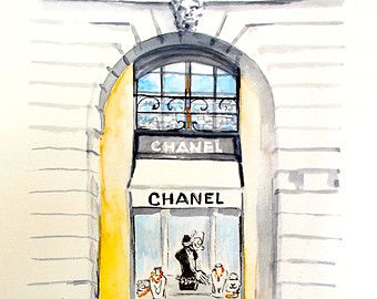 Parisian Chanel Fashion Watercolor Paris Illustration By Lanasart
