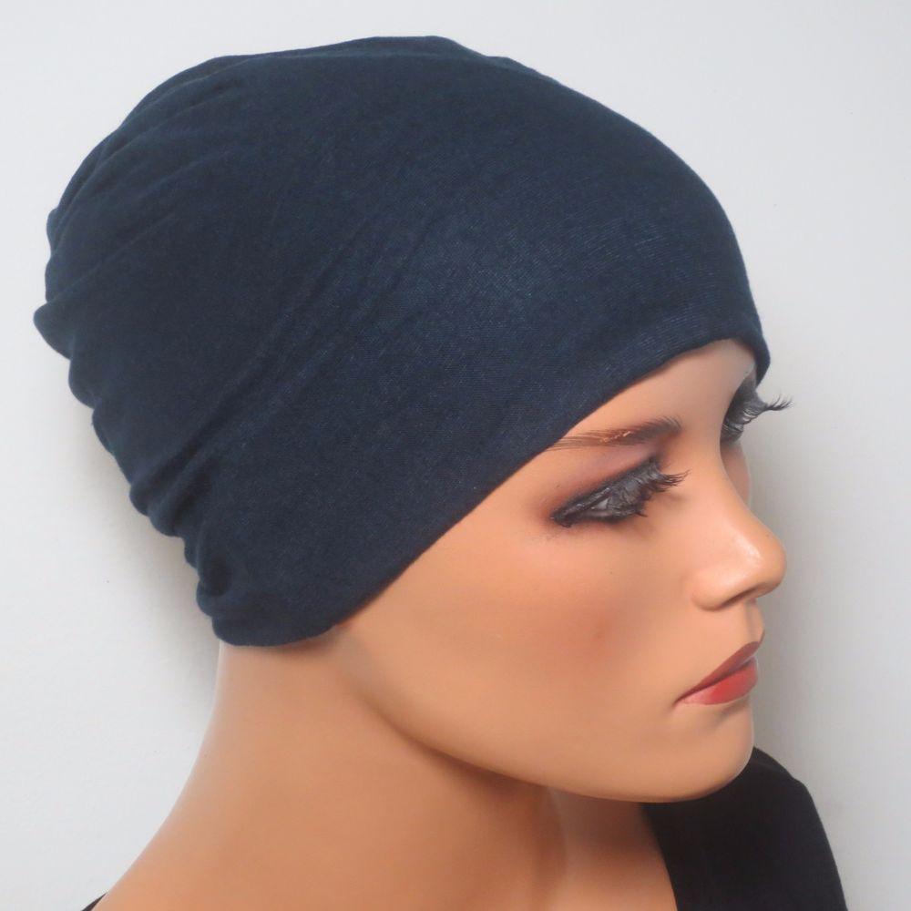 Damen Mütze Nachtmütze Untermütze  Orange Jersey weich bequem Chemo Alopezie