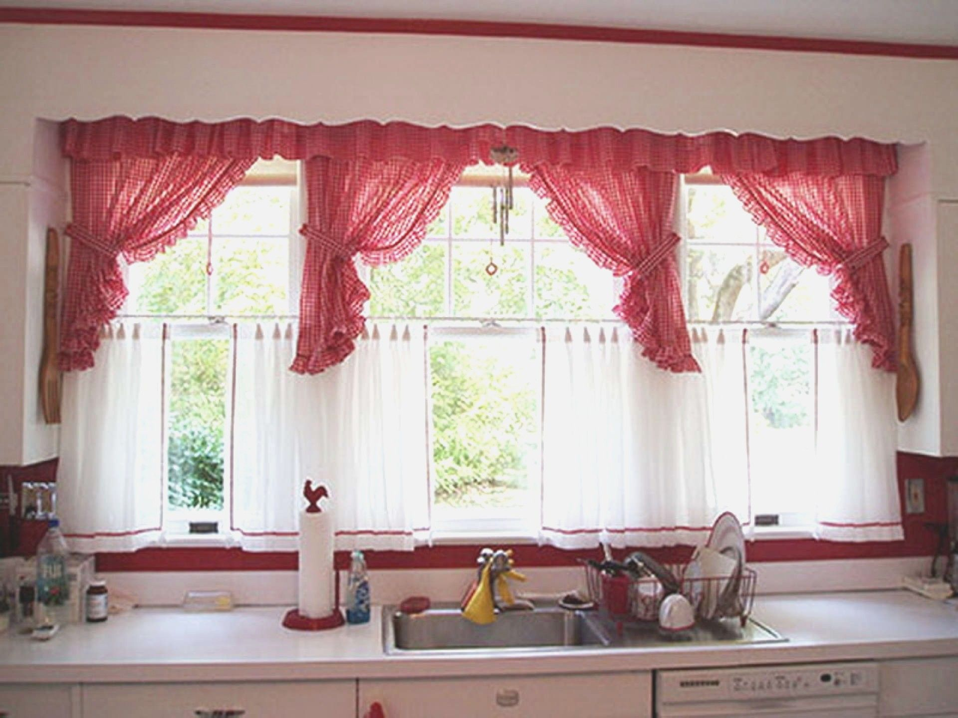 Red Valances For Kitchen Windows   Red Valances For Kitchen Windows, Striped  Valances For Kitchen