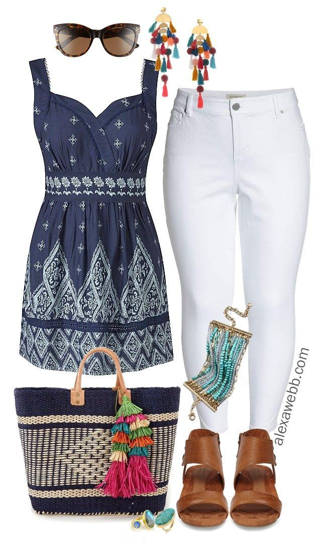 Plus Size Boho Summer Outfit | Boho, Ankle jeans and Womens fashion outfits
