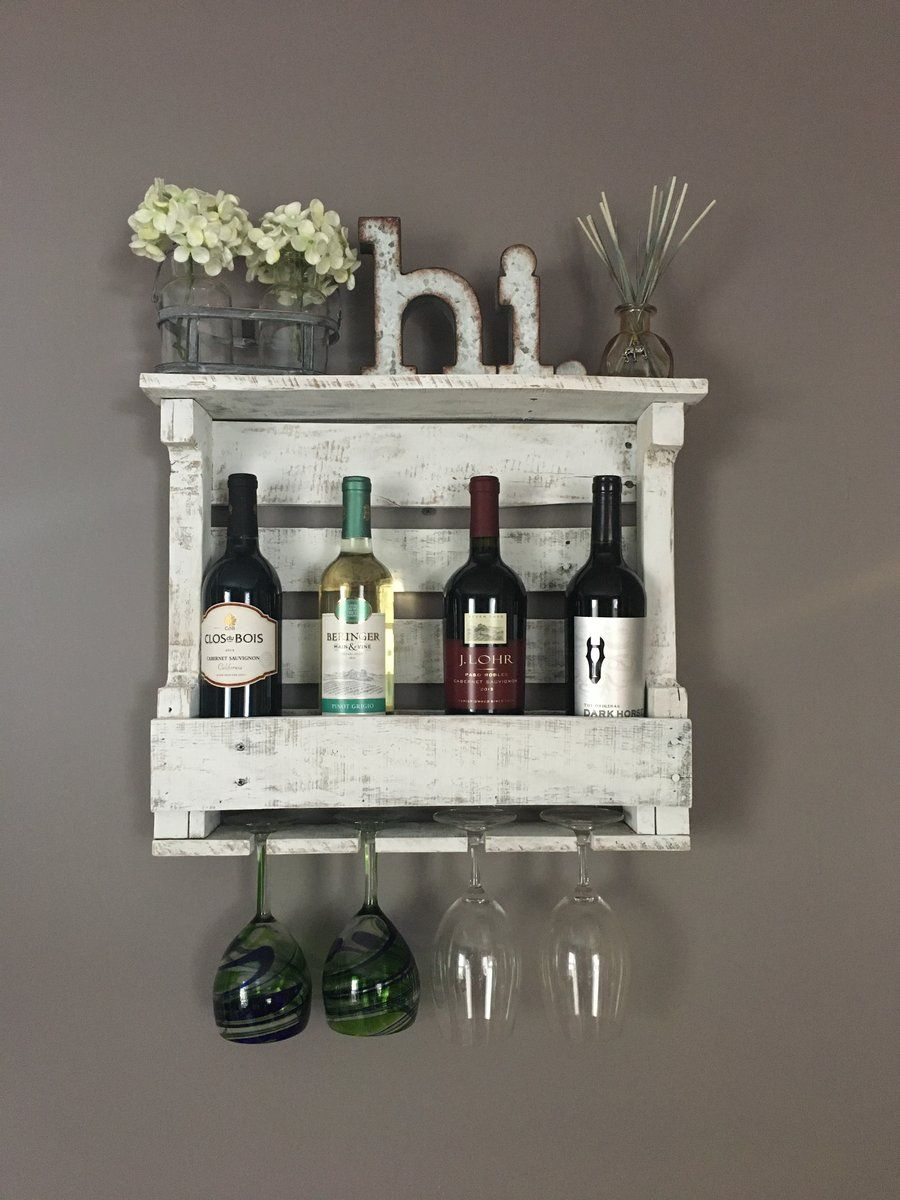 Wine Rack In Distressed White Rustic Wooden Farmhouse Deco Home And Pallet