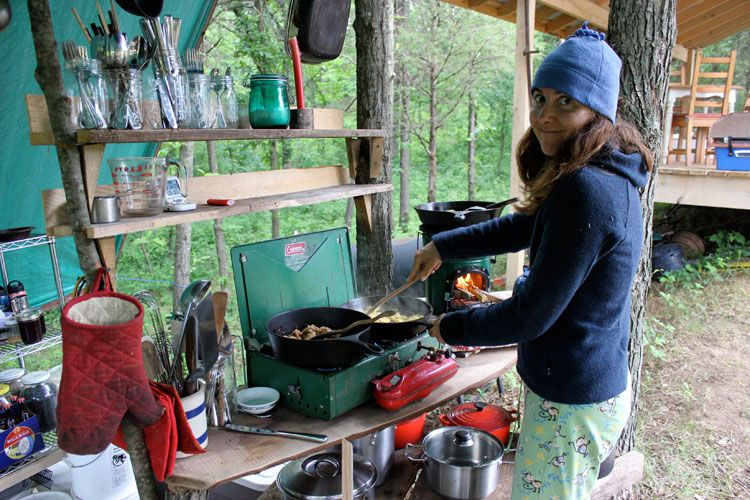 Setting Up An Outdoor Kitchen Outdoor Camping Kitchen Comfortable Camping Camp Kitchen