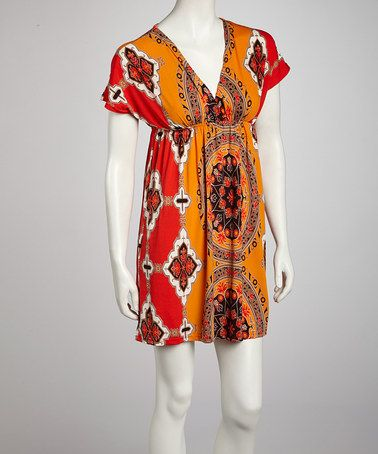 Take a look at this Orange Victorian Dolman Dress by India Boutique on #zulily today!