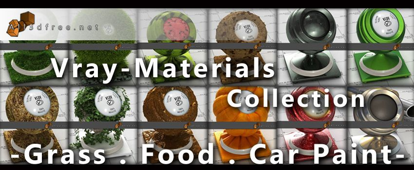 Vray Materials Available For Free Download Grass Food Car Paint