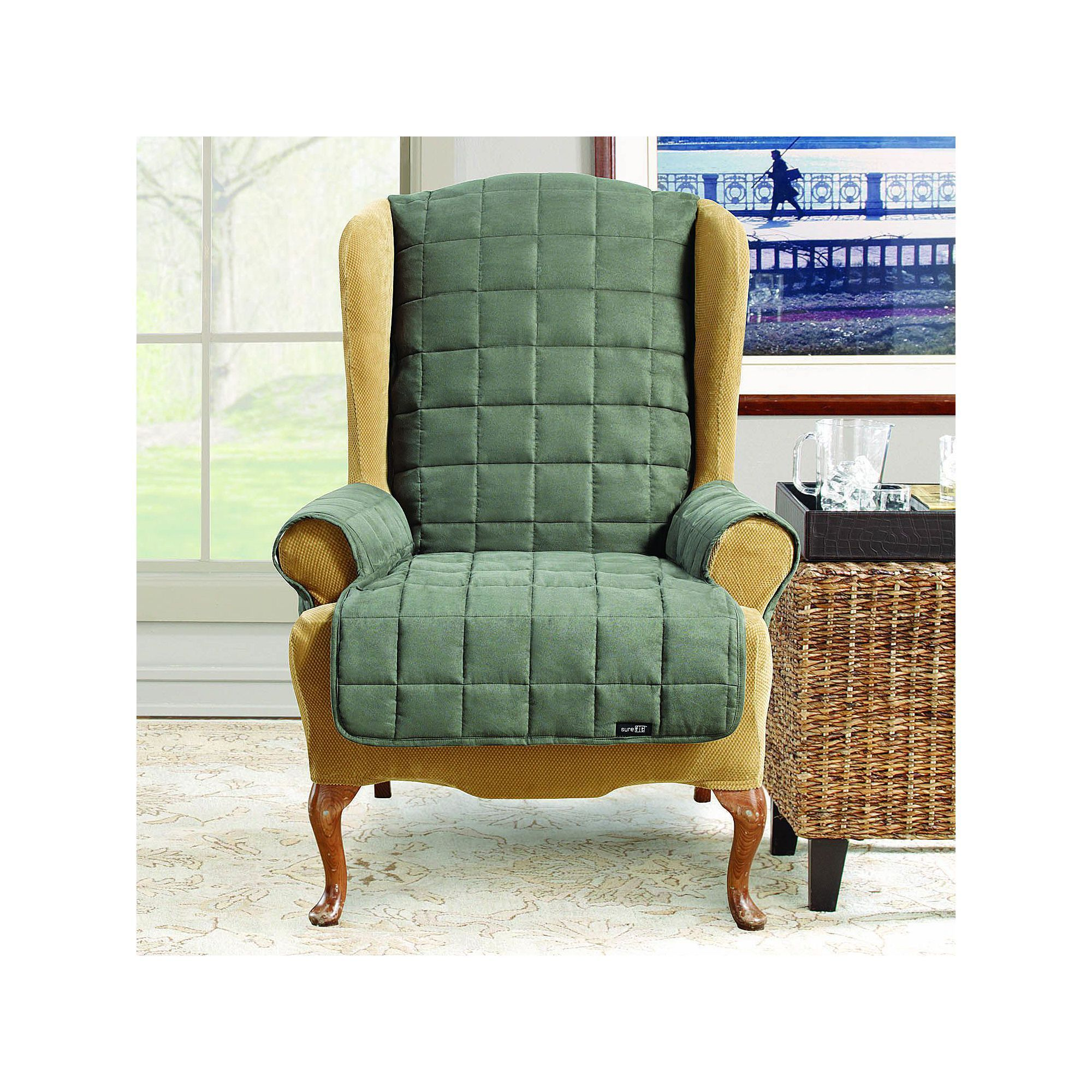 Sure Fit Waterproof Wing Chair/Recliner Slipcover, Grey