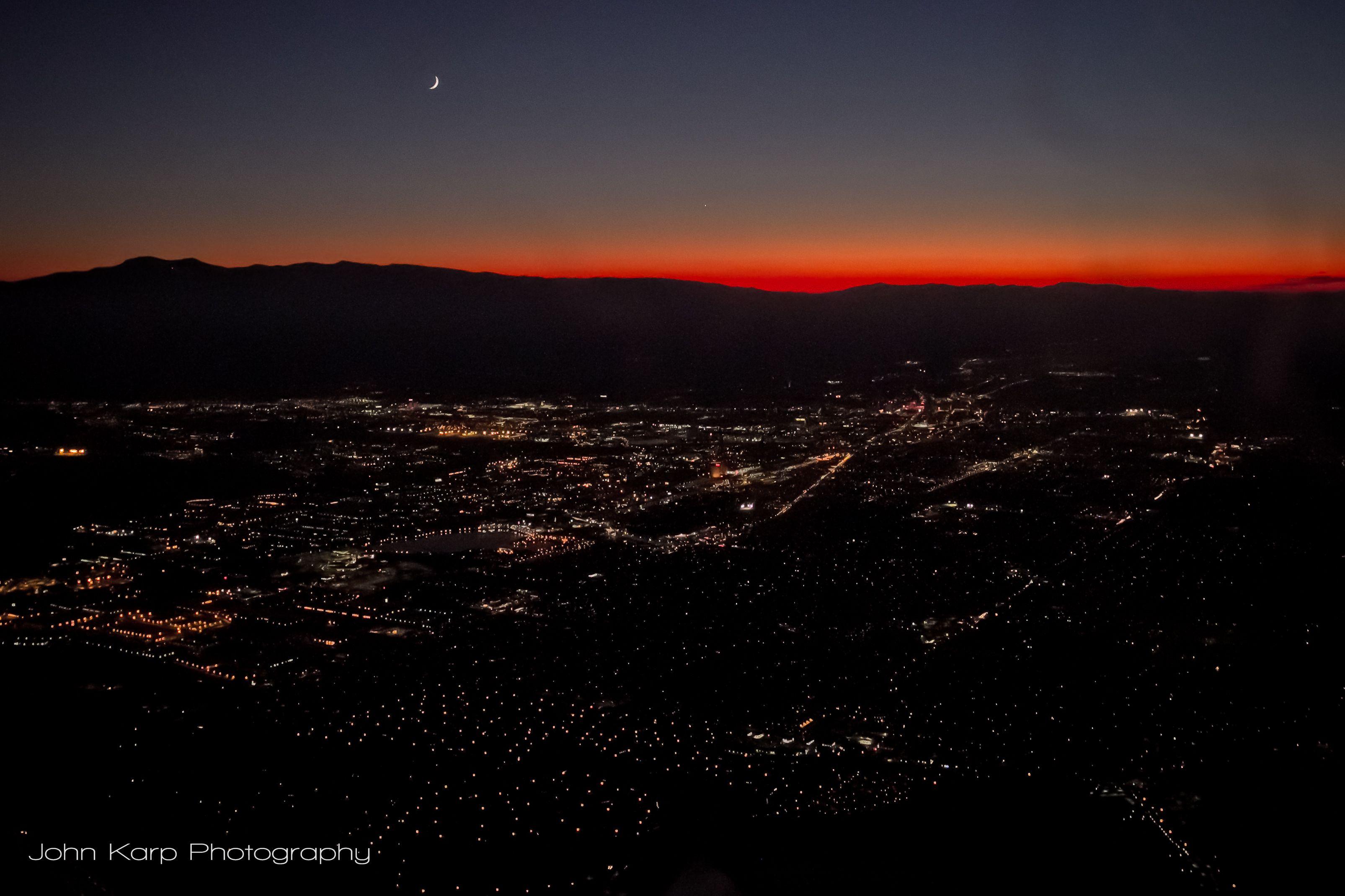 Crescent moon over Reno