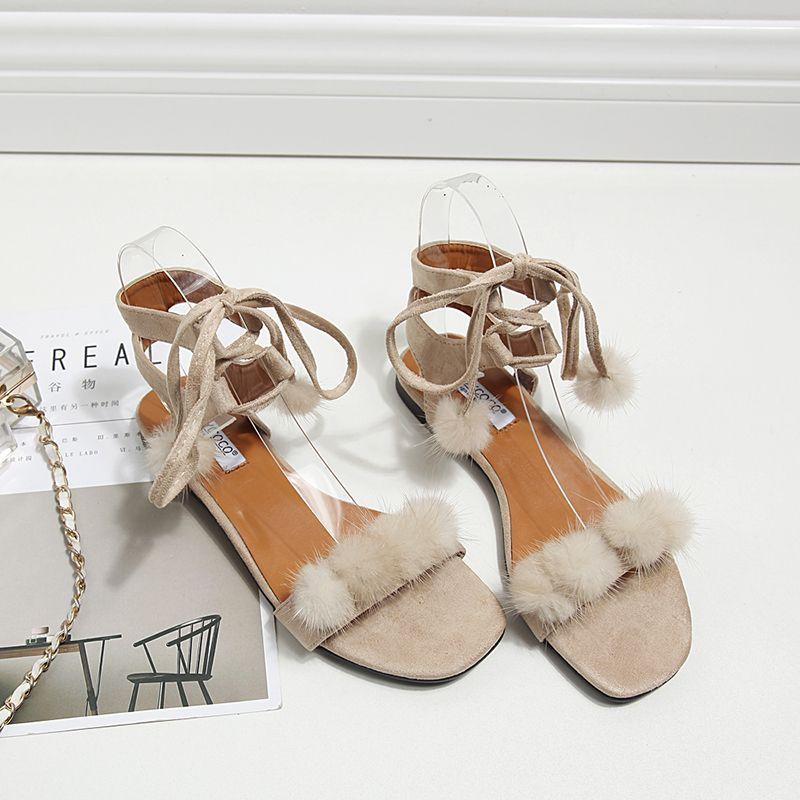 2017 Fashion Women Fuzzy Fur Sandals Gladiator Ladies Shoes Heels Mules  Slides Chiara FerragniSexy Slippers Designer
