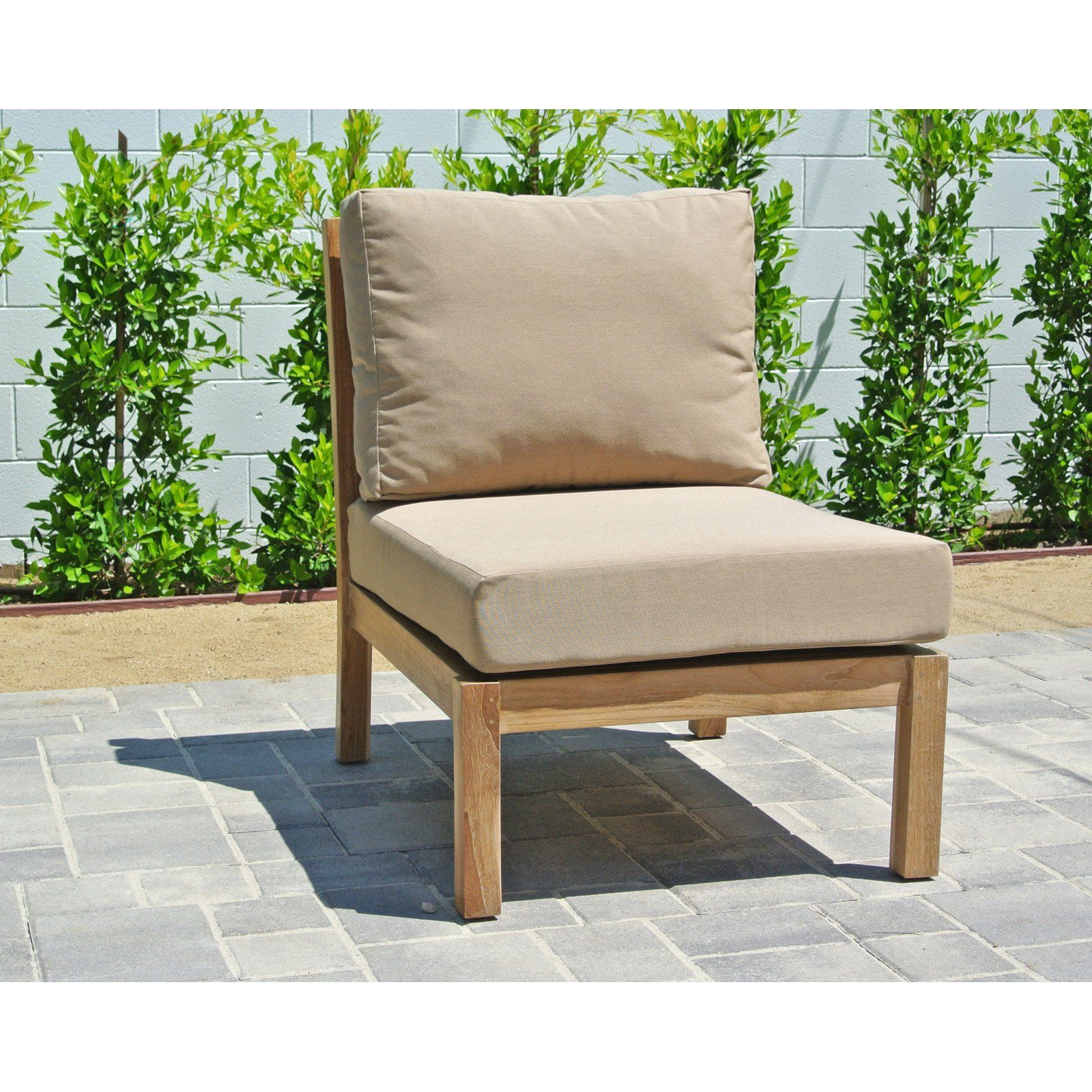 Willow Creek Huntington Teak Outdoor Armless Sectional Piece Brannon Redwood Sunbrella Cushions Teak Outdoor Furniture