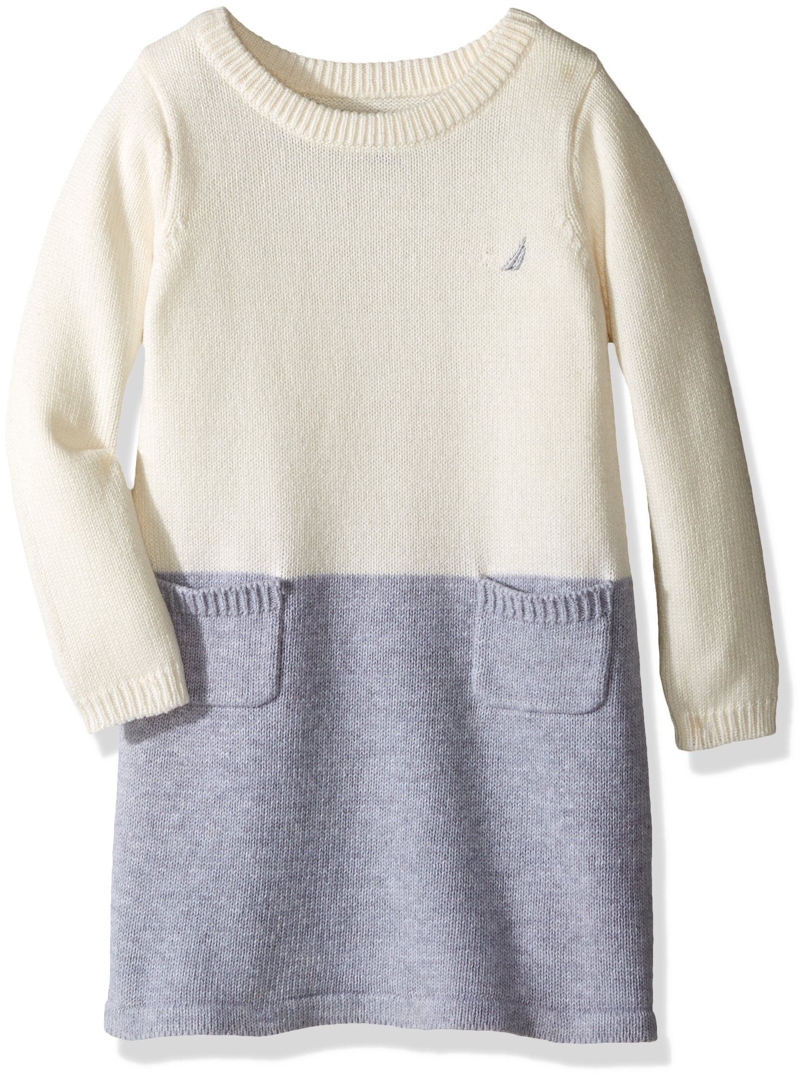 Nautica Little Girls Toddler Colorblock Sweater Dress Cream 3t