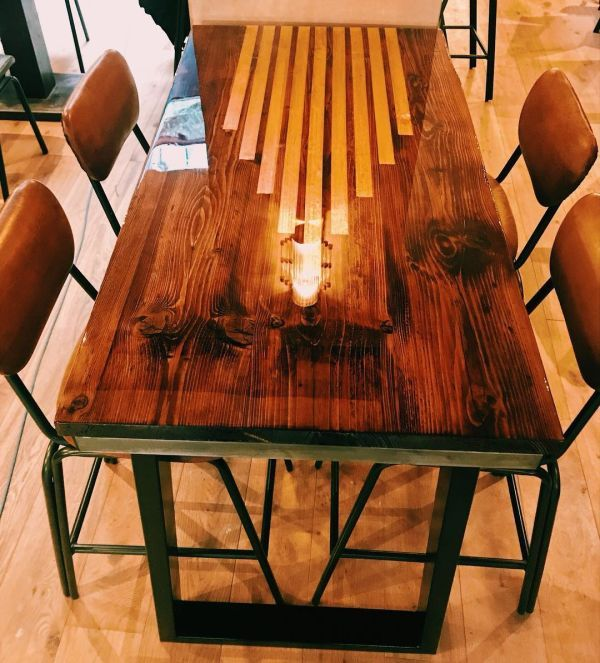 Custom Dining Table By Riz And Mica Make At Roxie Steak Dining Table Custom Dining Tables Industrial Style