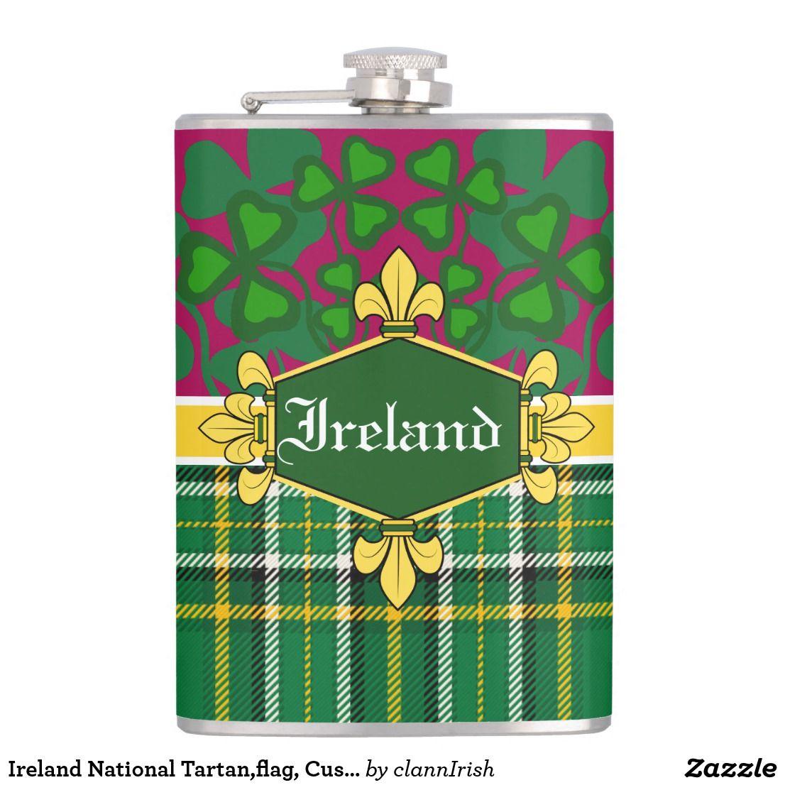 Ireland National Tartan,flag, Customize with name Flask