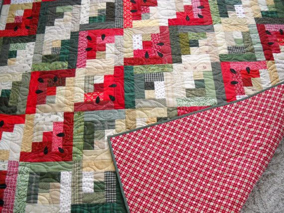 Watermelon Picnic quilt by RedRabbitQuilting on Etsy, $449.00 ... : watermelon quilt pattern - Adamdwight.com