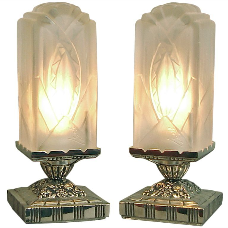 french art deco table vanity lamps by hugue et moi from a