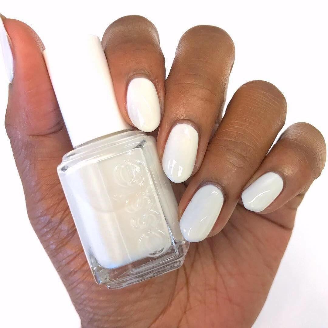 Essie Marshmallow On Dark Skin White Nail Polish On