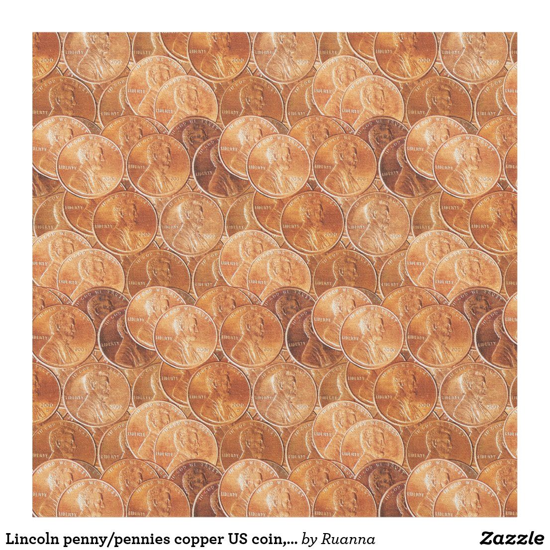 Lincoln Penny Pennies Copper Us Coin Penny Fabric2 Fabric In 2020 Us Coins Penny Create Fabrics