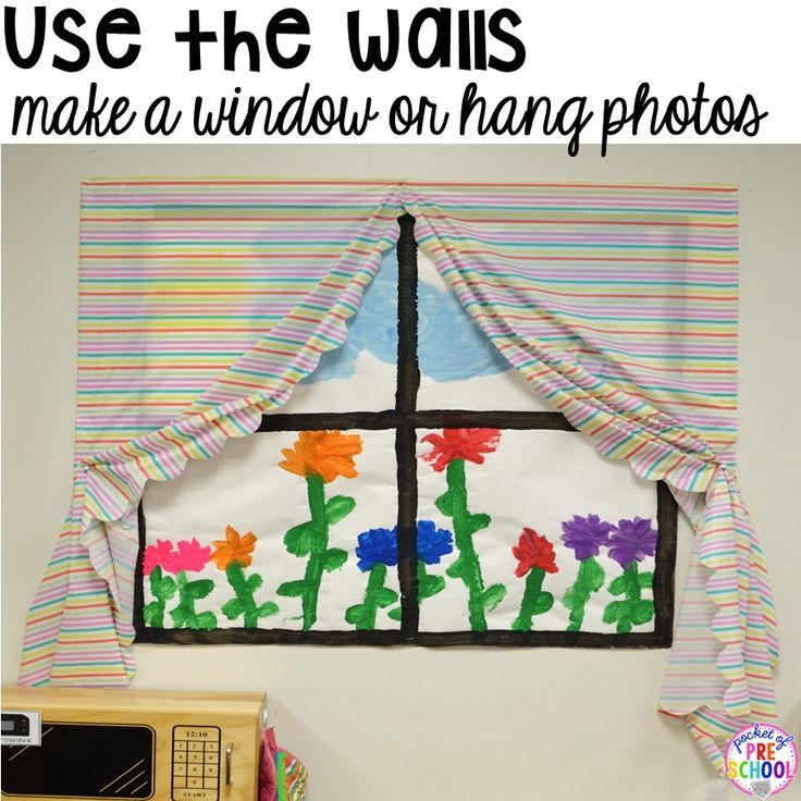Home Living for back to school! Make a window in the dramatic play center. Preschoolers and pre-k kiddos will LOVE it! #homeliving #dramaticplay #preschool