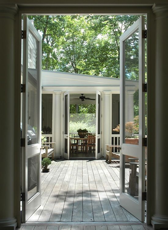 Love this way of connecting two spaces perfect for a for French doors back porch