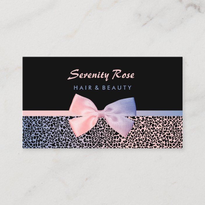Chic Beautician Pink Blue Leopard Print With Bow Business Card Zazzle Com In 2021 Beauty Salon Business Cards Salon Business Cards Girly Business Cards