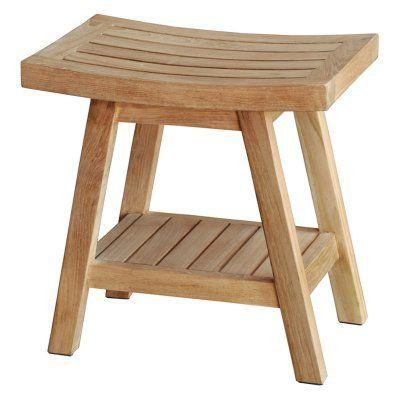 Spa Saba Teak Shower Stool with Shelf - TB-115 | Teak shower stool ...
