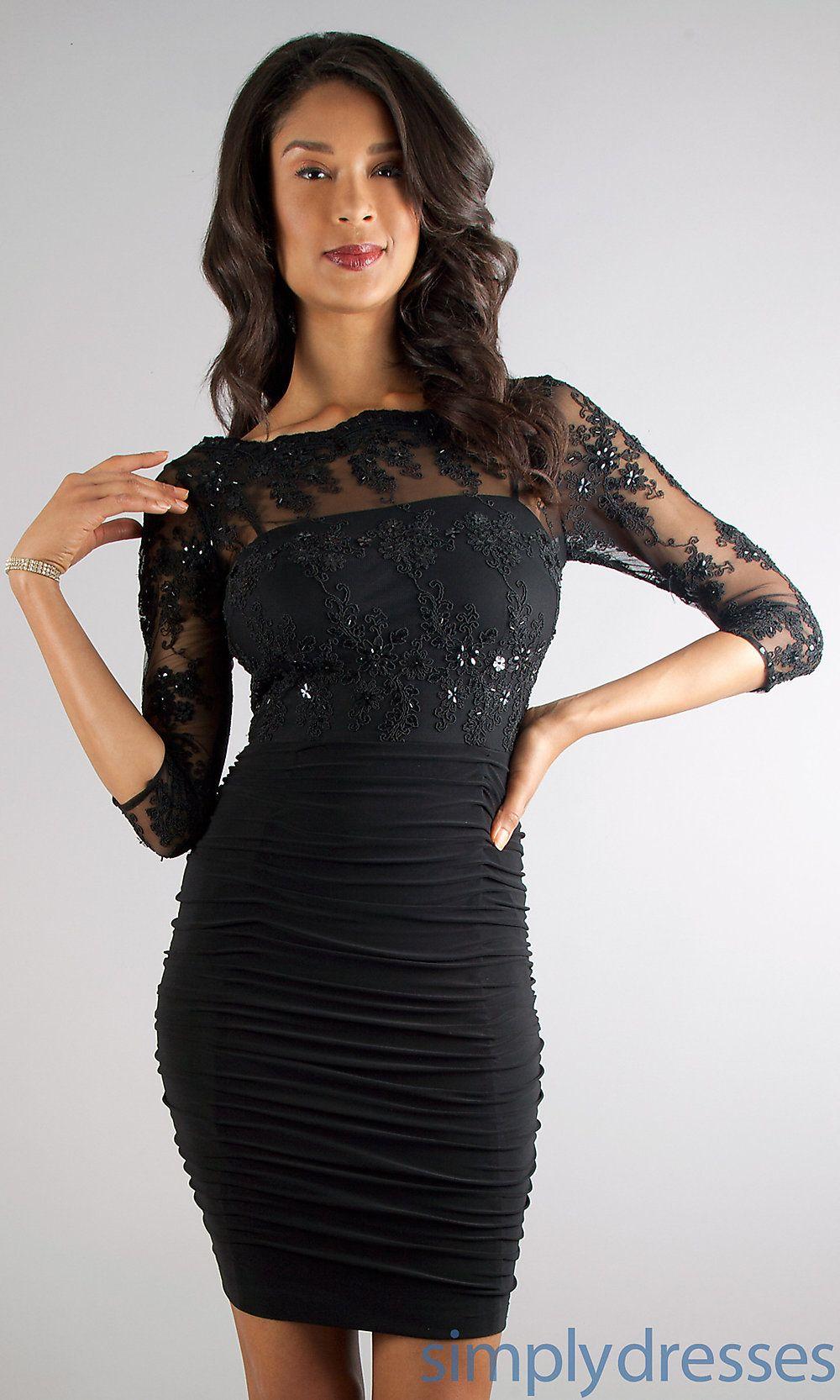 Black dresses for wedding guest  Black Lace Ruched Dress Karen Miller Dresses Simply Dresses