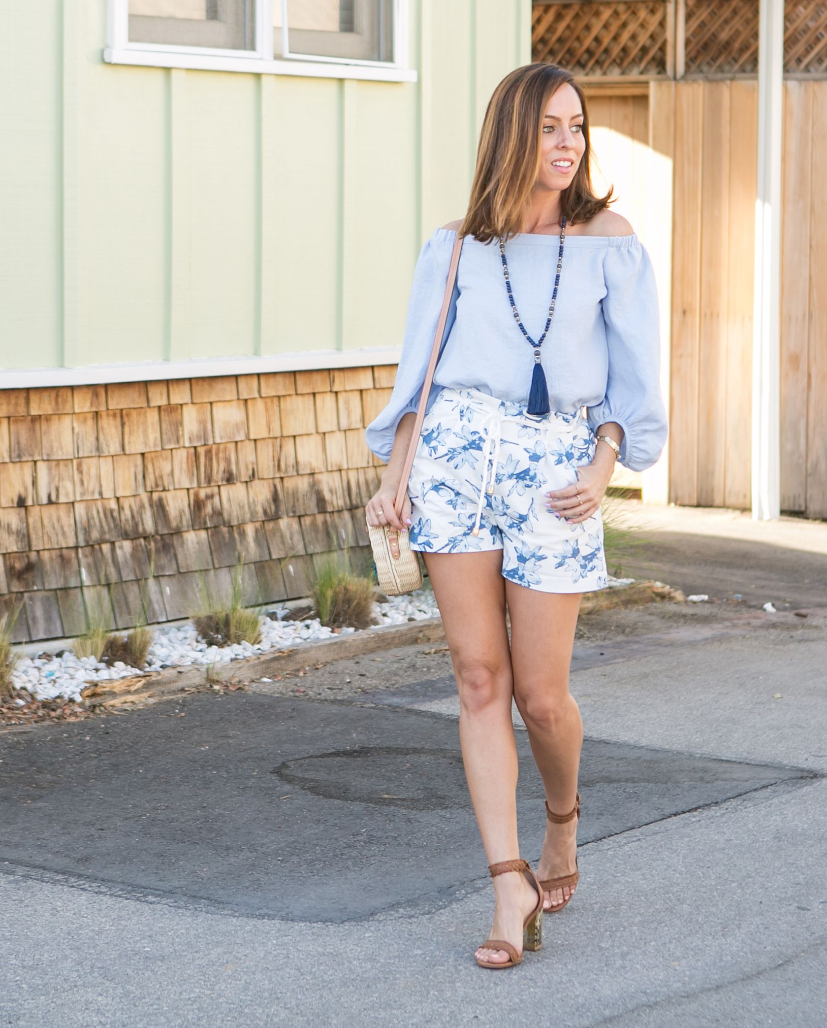 c77ae84daf Sydne Style shows how to wear floral shorts at night for summer outfit ideas