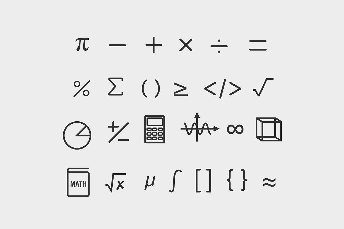 25 Math Symbol Icons Design Projects Math Science