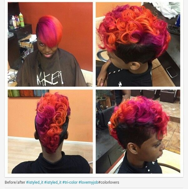 Short Hair Mohawk With Sunset Oranges And Purple Colors Shorthair