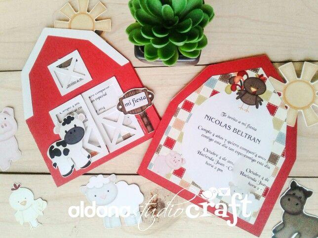 Invitacion Cumpleaños Animales De La Granja Cumpleaños