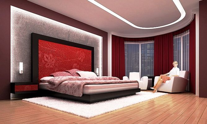 Bedroom Design Charming Interior Beautiful Room Decor In Red Wall Designs With Unique Rounded Shape And Attractive Ceiling Also