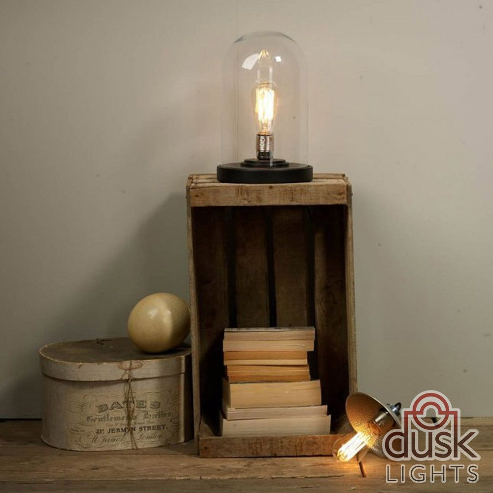 Dar jef jefferson cloche table lamp in pewter table and desk