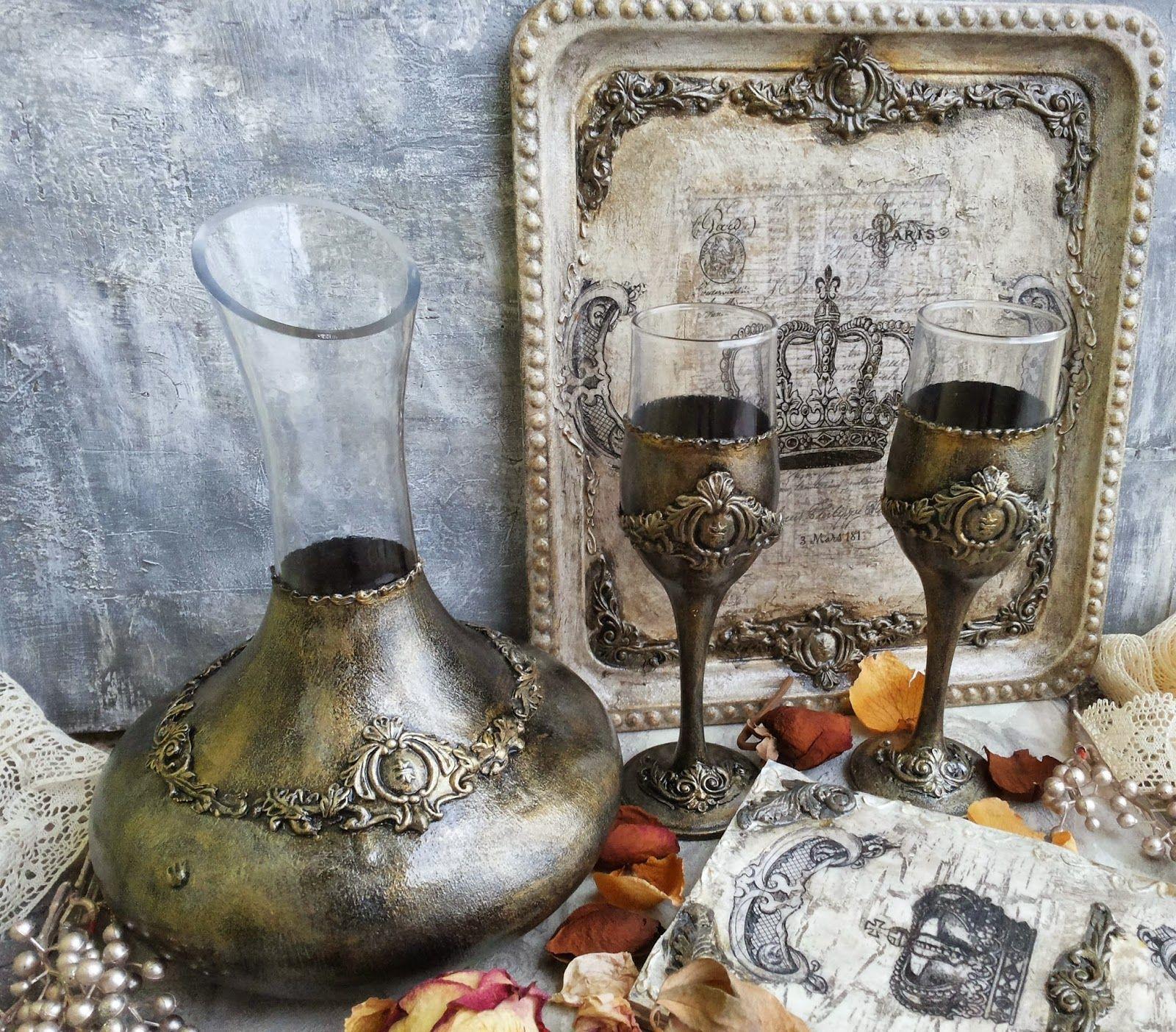 Martinel: Golden antique glass set - Античен комплект в златно