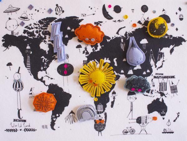 Corby Tindersticks Felt World Weather Map