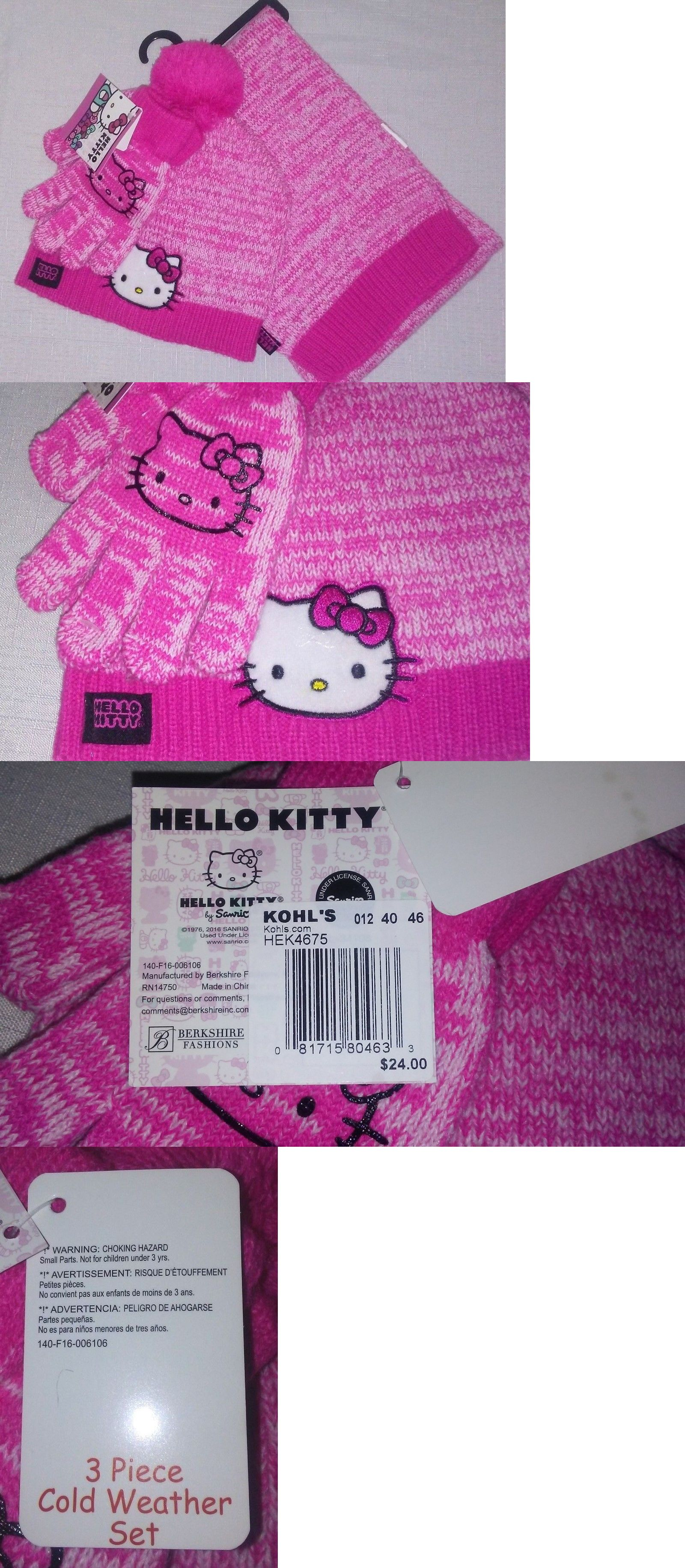 NWT Hello Kitty Girlsu Winter Hat Scarf and Gloves Set One Size Fits