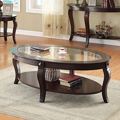 1perfectchoice Riley Walnut Oval Coffee Table With Glass Https
