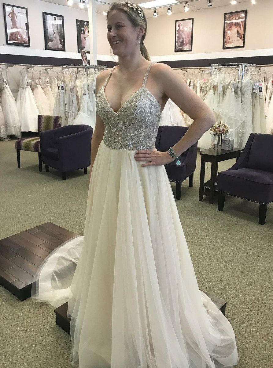 Aline spaghetti straps tulle wedding dress with beading prom