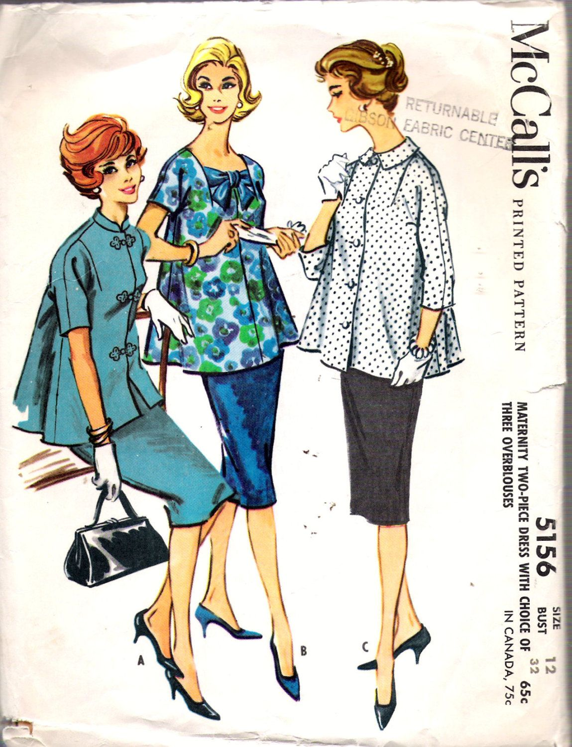 Vintage 1959 mccalls 5156 maternity two piece dress with choice vintage 1959 mccalls 5156 maternity two piece dress with choice of three over blouses sewing pattern size 12 bust 32 ombrellifo Images