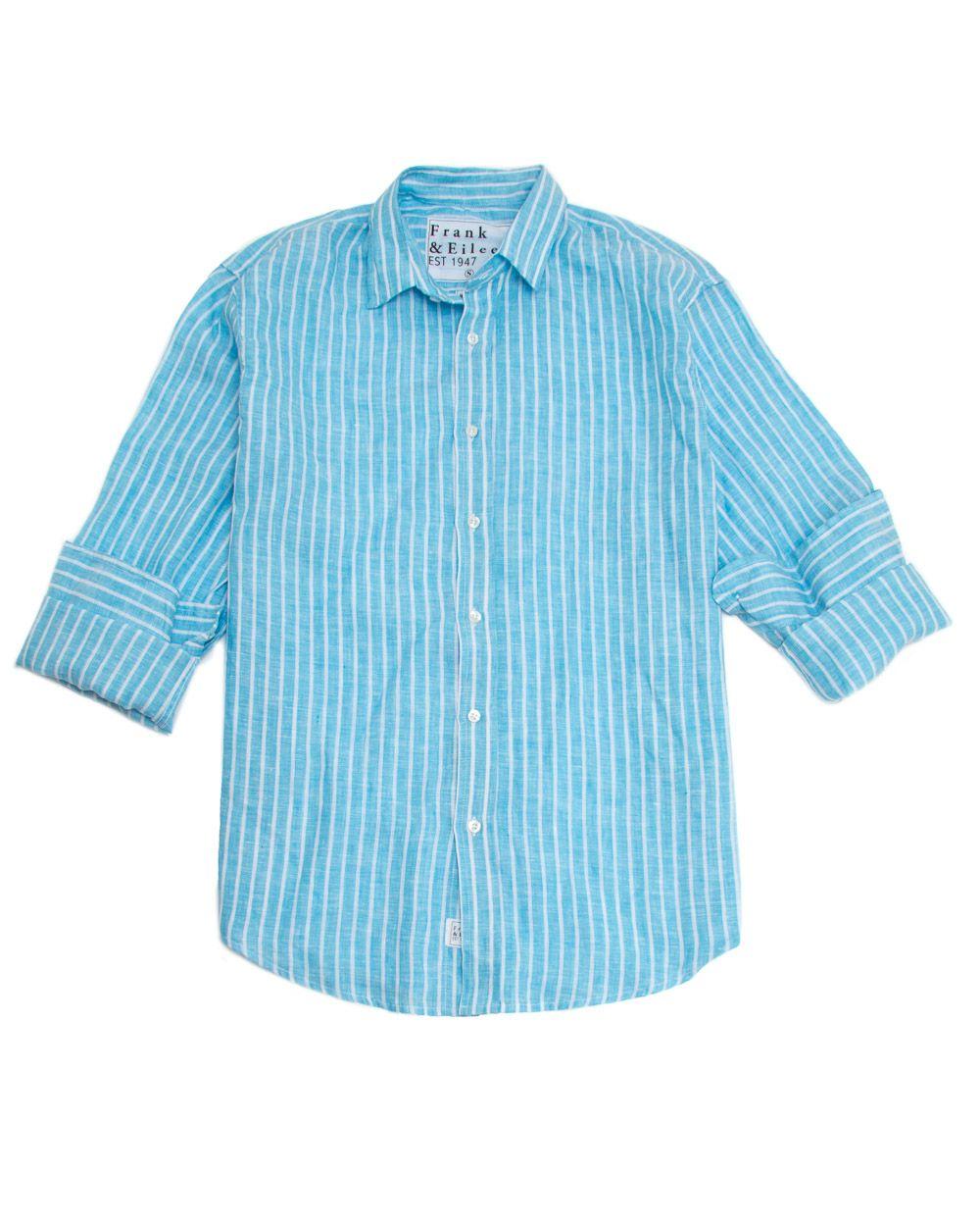 Frank & Eileen Paul Bright Blue Stripe Italian Linen Shirt Classic
