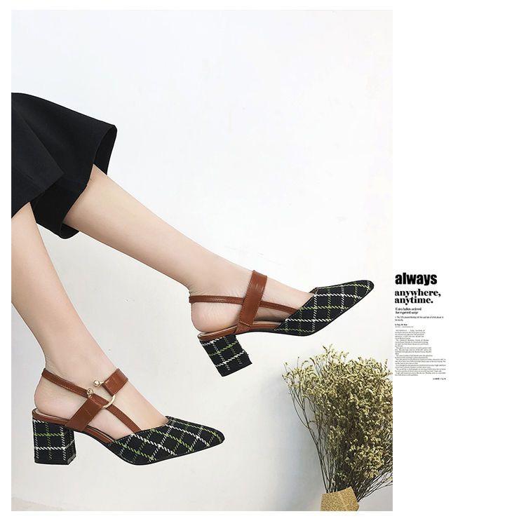 a7fe7a1fba93 Buy Yuki Yoru Plaid Pointed Chunky Heel Sandals
