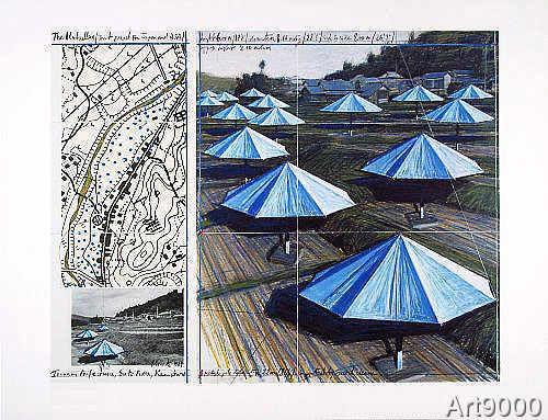 Christo und Jeanne-Claude - Umbrellas Blue (M376)