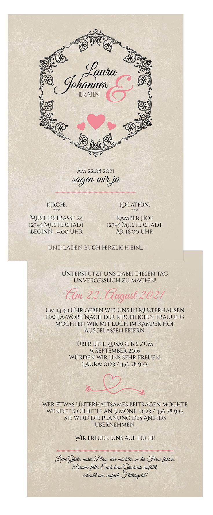 Schlichte Hochzeitseinladung Im Vintage Look Jetzt Vintage