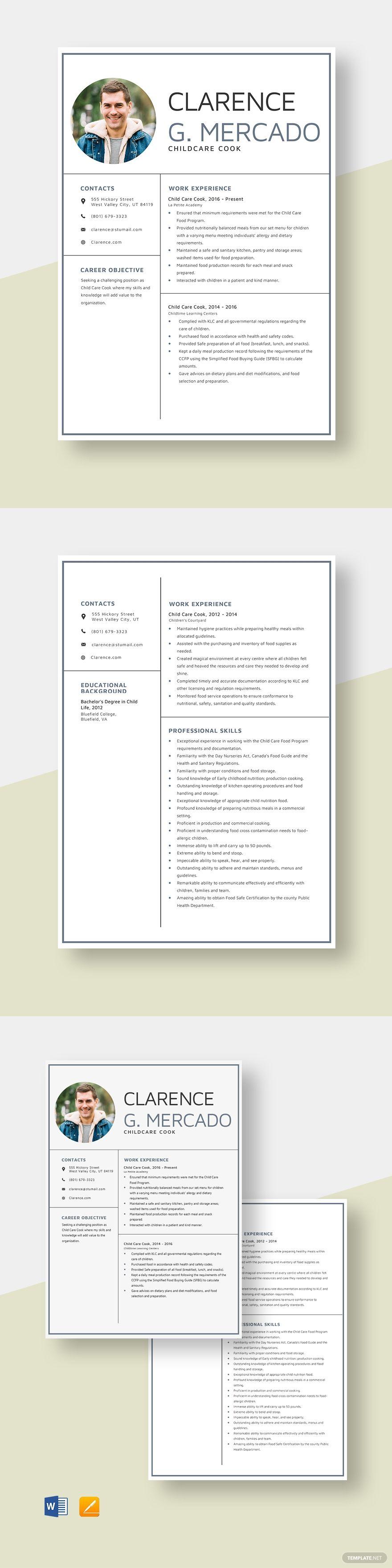 Child Care Cook Resume Template AD, , Ad, Care, Child