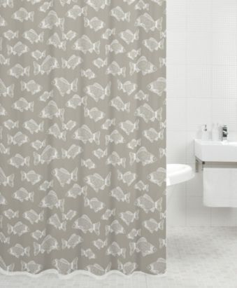 Grey fishy shower curtain, would go with grey bathroom and toilet