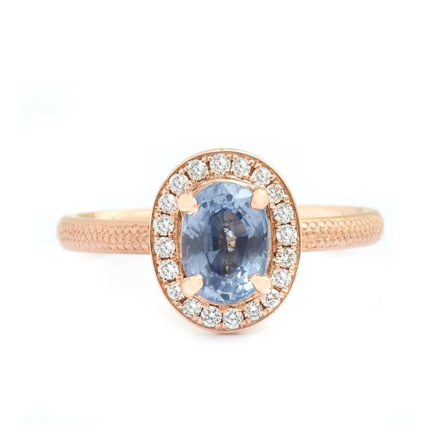 Periwinkle blue sapphire engagement ring