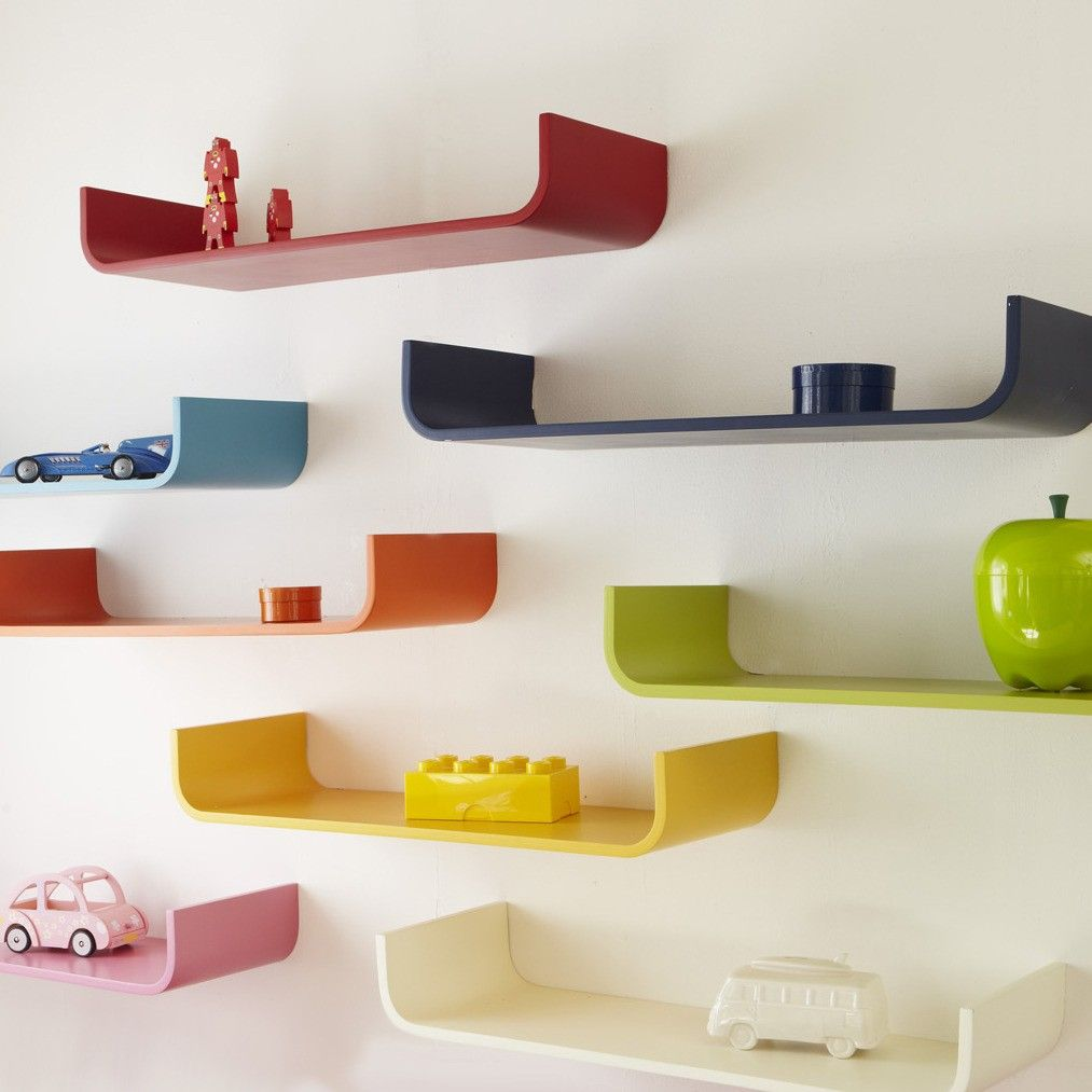 Fun curved shelves in rainbow colors! | Lamp | Childrens ...