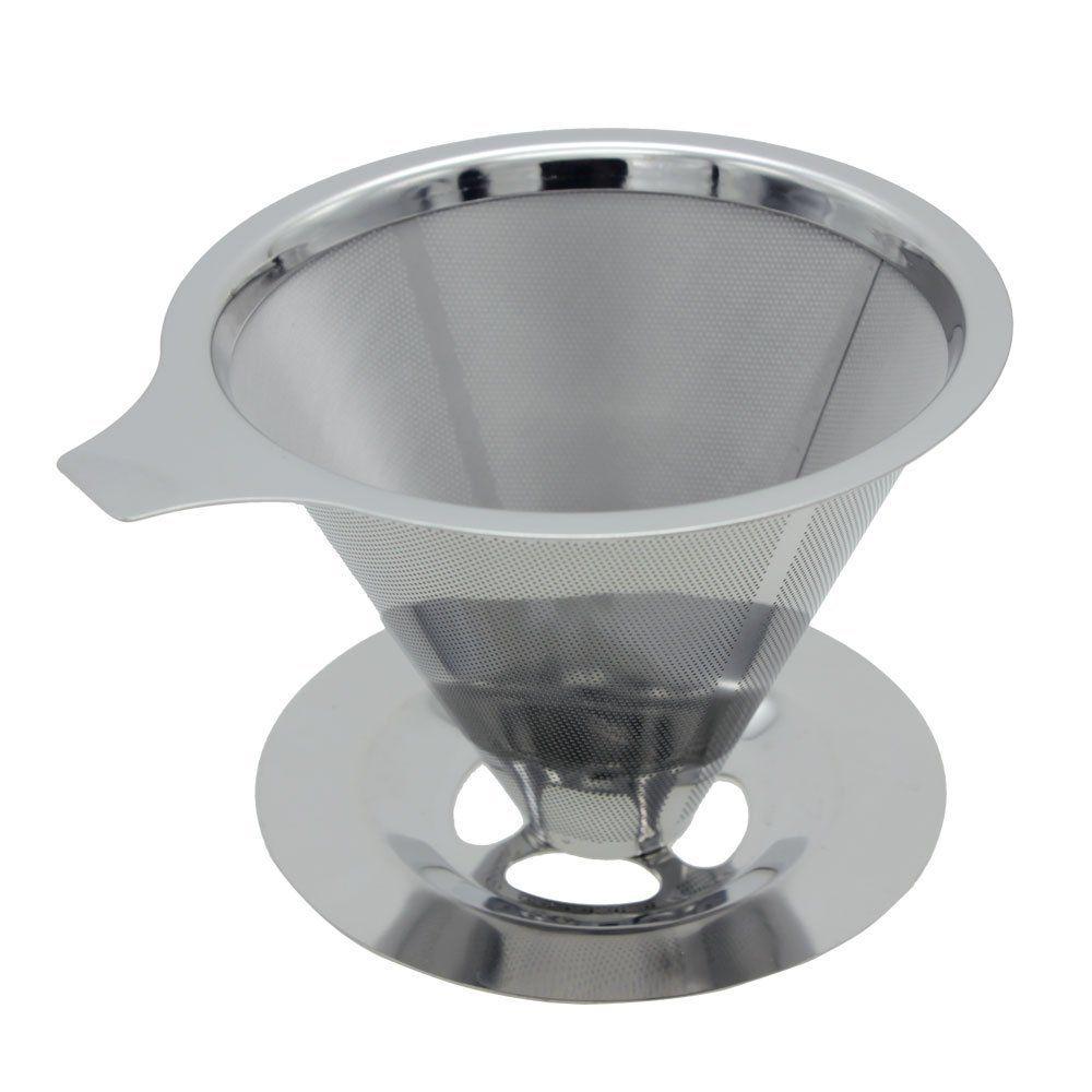 HuntGold Reusable Stainless Steel Coffee Filter Pour Over Double Layer Mesh Coffee Dripper >>> Visit the image link more details.