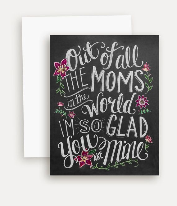 Motheru0027s Day Card Card For Mom Chalkboard Art Por LilyandVal